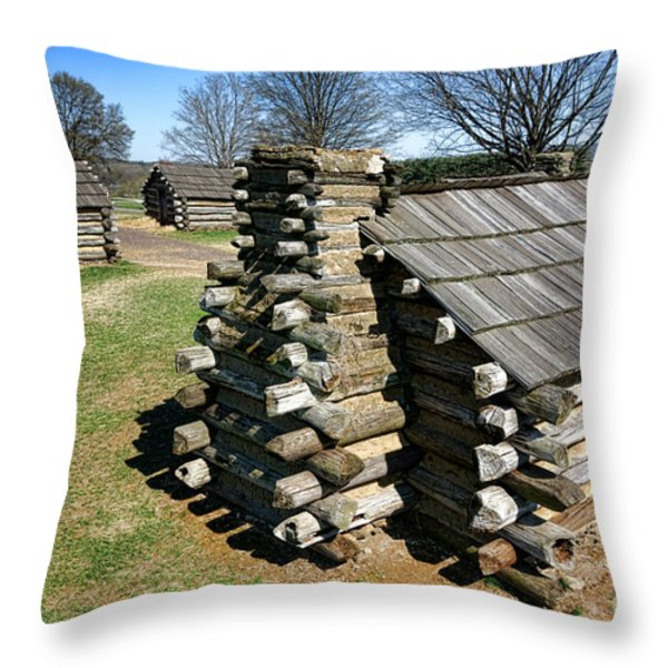 Log Cabins at Valley Forge Throw Pillow by Olivier Le Queinec
