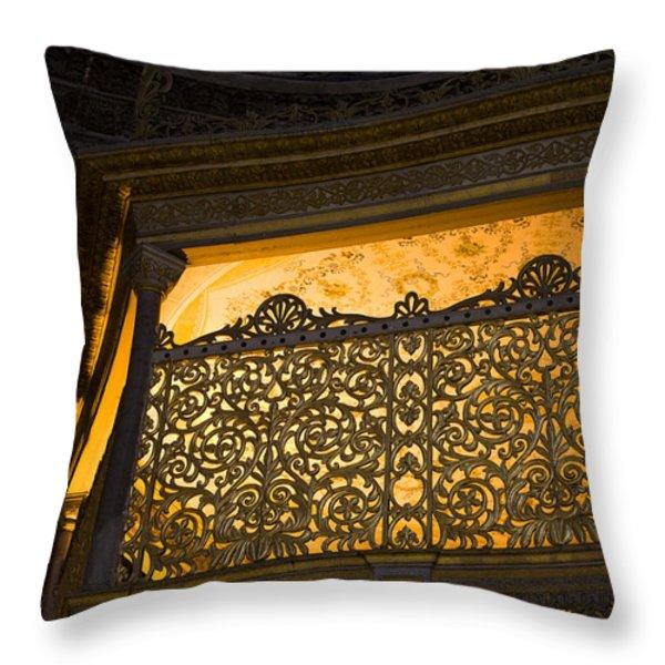 Loge Of The Sultan In Hagia Sophia Throw Pillow by Artur Bogacki