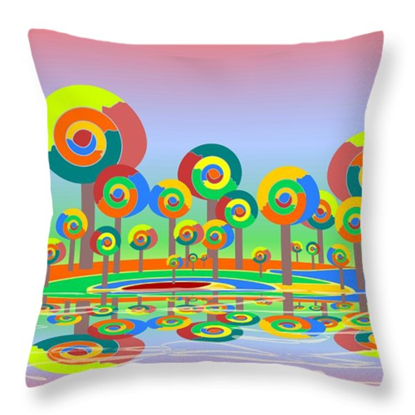 Lollypop Island Throw Pillow by Anastasiya Malakhova