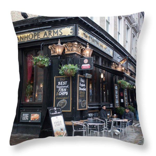 London Pub Throw Pillow by Thomas Marchessault