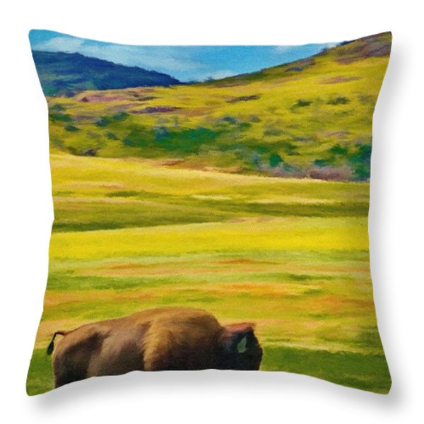 Lone Buffalo Throw Pillow by Jeff Kolker