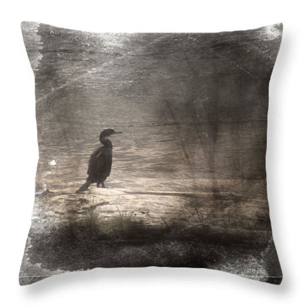 Lone Cormorant Throw Pillow by Carol Leigh