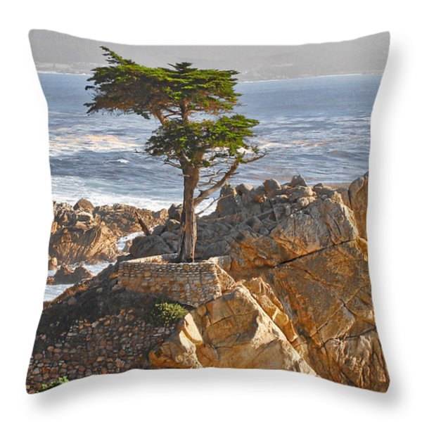 Lone Cypress - The icon of Pebble Beach California Throw Pillow by Christine Till