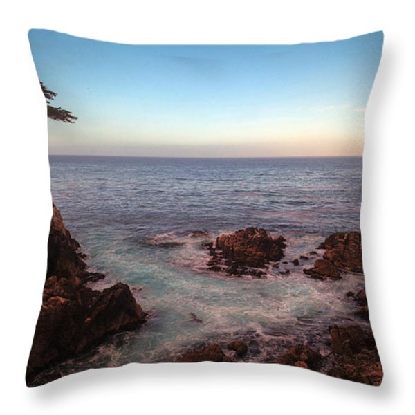 Lone Cyprus Pebble Beach Throw Pillow by Mike Reid