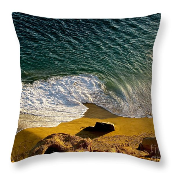 Lone Hiker At Sunset On Secluded Beach At Cabo San Lucas Throw Pillow by Sean Griffin
