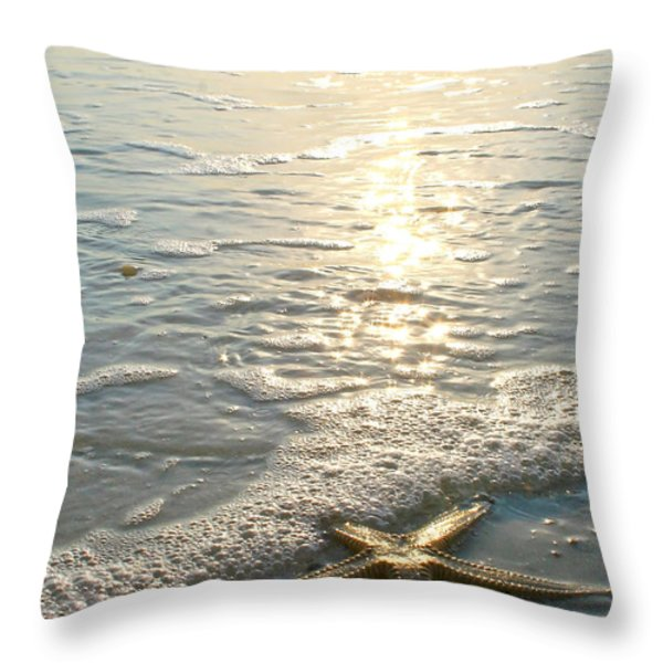 Lone Star on Lovers Key Beach Throw Pillow by Olivia Novak