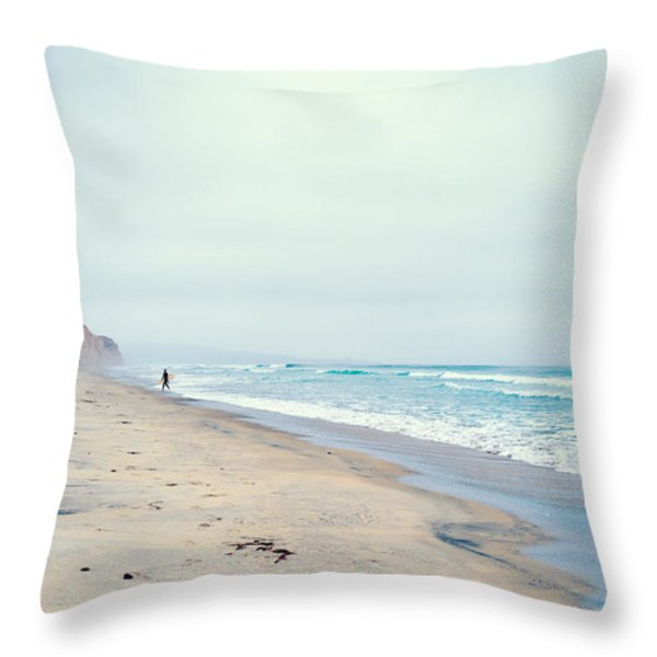 Lone Surfer Throw Pillow by Tanya Harrison