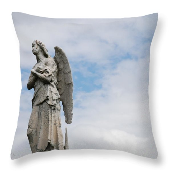 Lonely Angel Throw Pillow by Jennifer Lyon
