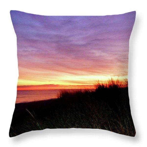 Lonely Beach At Sunrise Norfolk Va Throw Pillow by Susan Savad