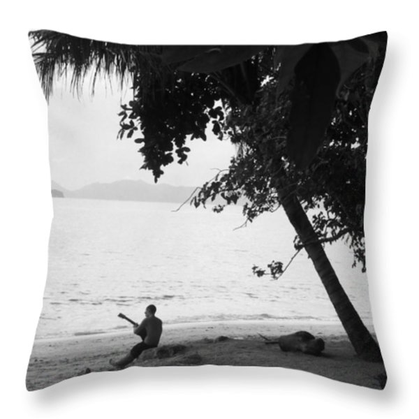 Lonely Guitarist Throw Pillow by Justin Woodhouse