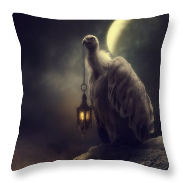 Lonely In The Moonlight Throw Pillow by Cindy Grundsten