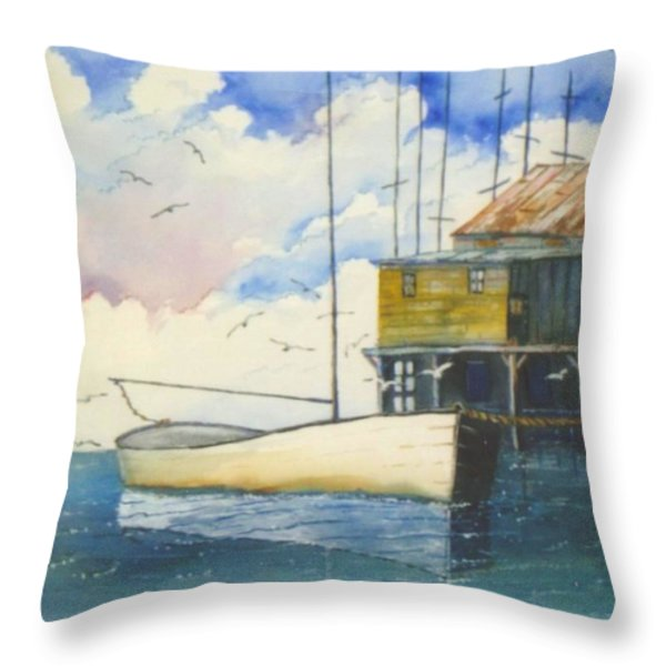 Lonesome Sailboat Throw Pillow by Don Hand