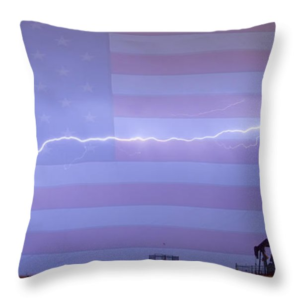 Long Lightning Bolt Across American Oil Well Country Sky Throw Pillow by James BO  Insogna