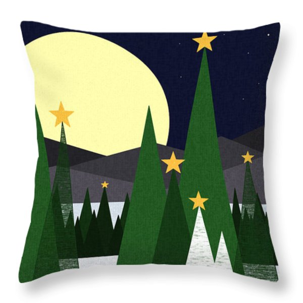 Long Night Moon Throw Pillow by Val Arie