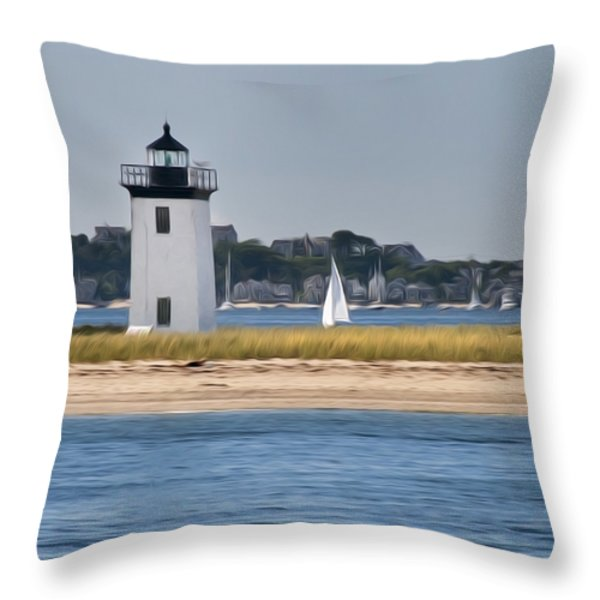 Long Point Light Throw Pillow by Bill  Wakeley