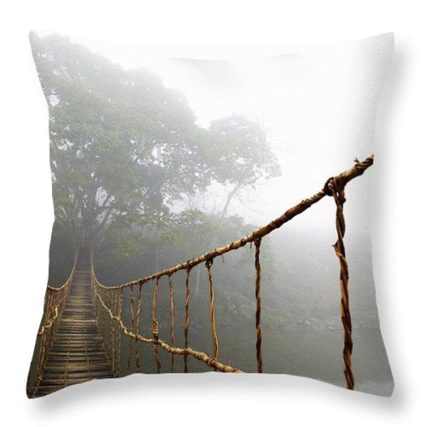 Long Rope Bridge Throw Pillow by Skip Nall