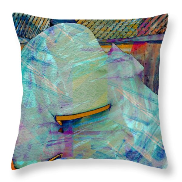 Long Time to Summer - Snow Storm - Blizzard Abstract Throw Pillow by Barbara Griffin