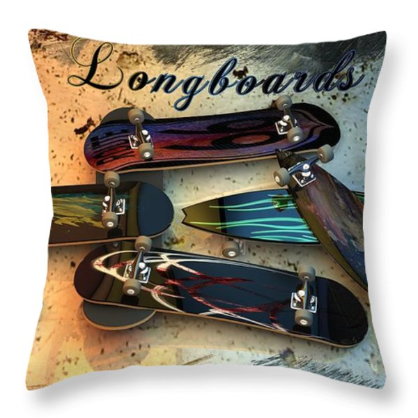 Longboards Throw Pillow by Louis Ferreira