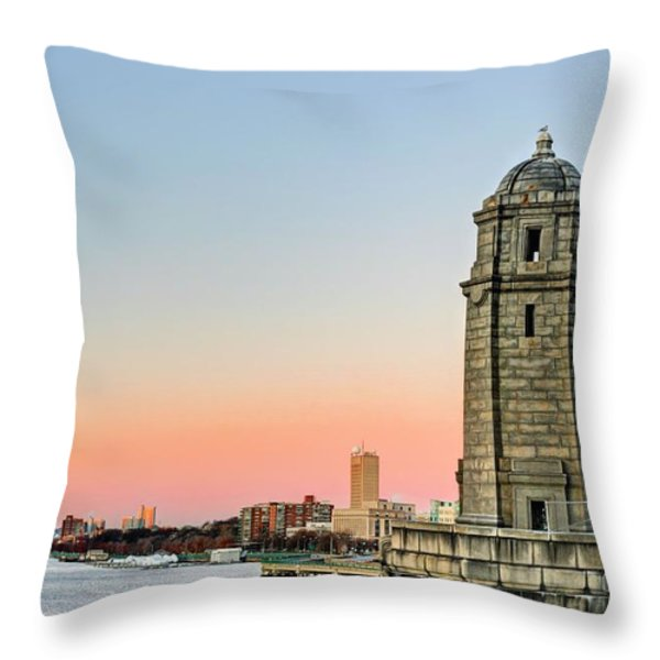 Longfellow Bridge Tower Throw Pillow by JC Findley