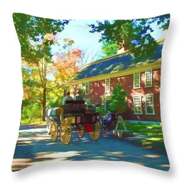 Longfellows Wayside Inn Throw Pillow by Barbara McDevitt