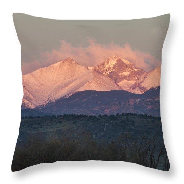 Longs Peak 1 Throw Pillow by Aaron Spong