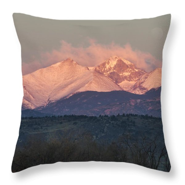 Longs Peak 1 Throw Pillow by Aaron Spong
