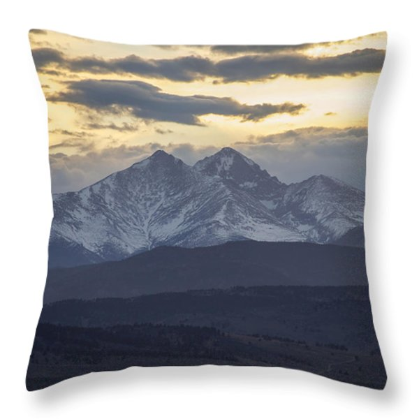 Longs Peak 3 Throw Pillow by Aaron Spong