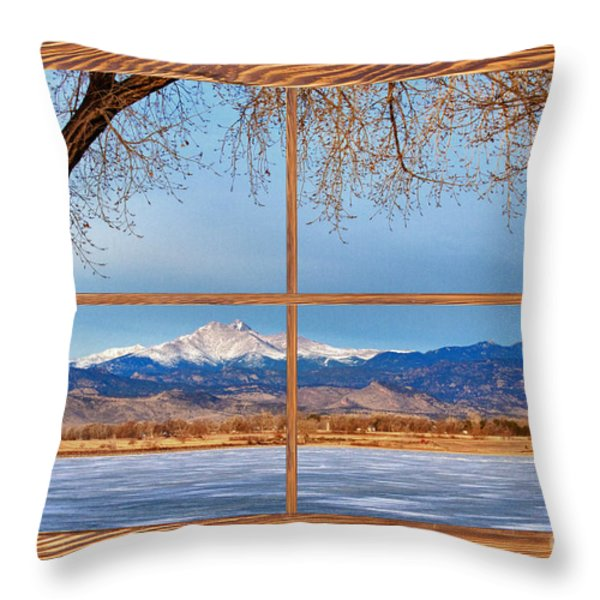 Longs Peak Across The Lake Barn Wood Picture Window Frame View Throw Pillow by James BO  Insogna