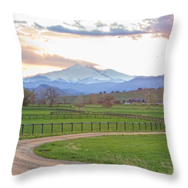 Longs Peak Springtime Sunset View  Throw Pillow by James BO  Insogna