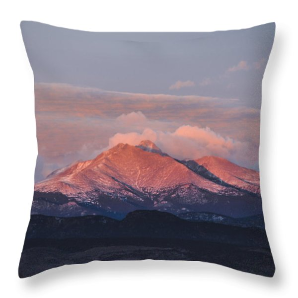 Longs Peak Sunrise Throw Pillow by Aaron Spong