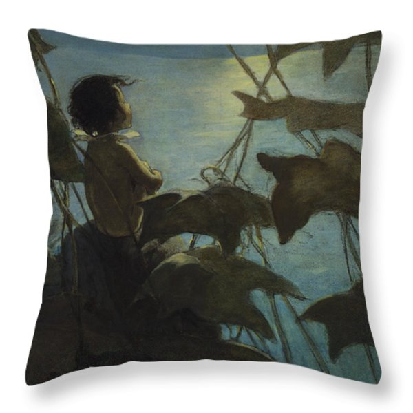 Looking At The Moon Circa 1916 Throw Pillow by Aged Pixel