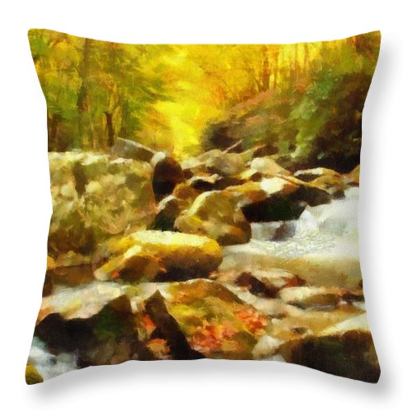 Looking Down Little River In Autumn Throw Pillow by Dan Sproul