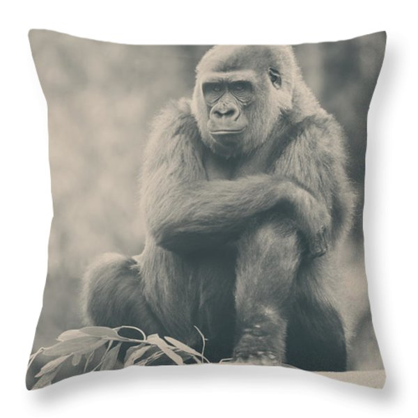 Looking So Sad Throw Pillow by Laurie Search