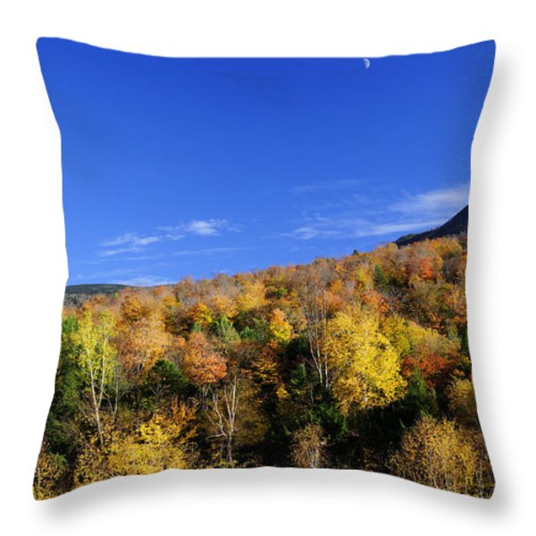Loon Mountain Foliage Throw Pillow by Luke Moore