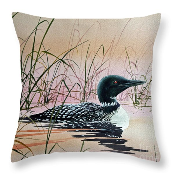 Loon Sunset Throw Pillow by James Williamson