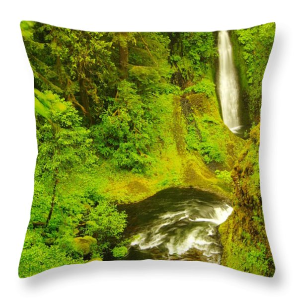Loowit Falls Throw Pillow by Jeff  Swan