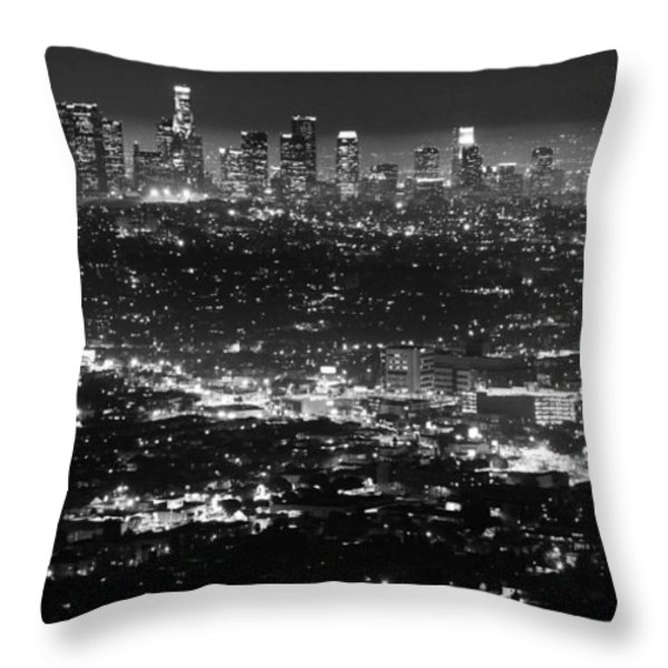 Los Angeles Skyline At Night Monochrome Throw Pillow by Bob Christopher