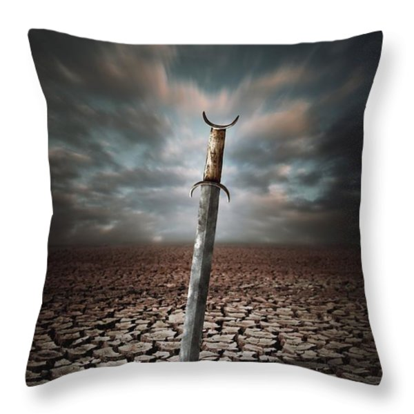 Lost Sword Throw Pillow by Carlos Caetano