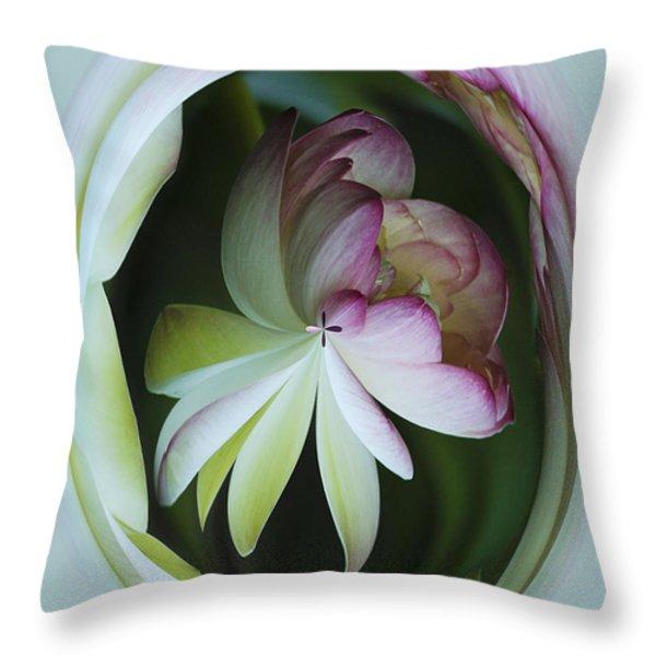 Lotus Mirror Throw Pillow by Jean Noren