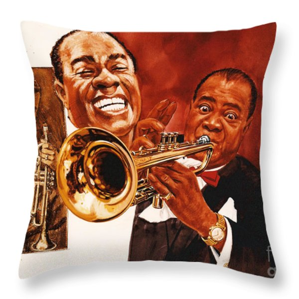 Louis Armstrong Throw Pillow by Dick Bobnick