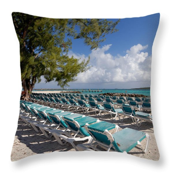 Lounge Chairs on the Beach Throw Pillow by Amy Cicconi
