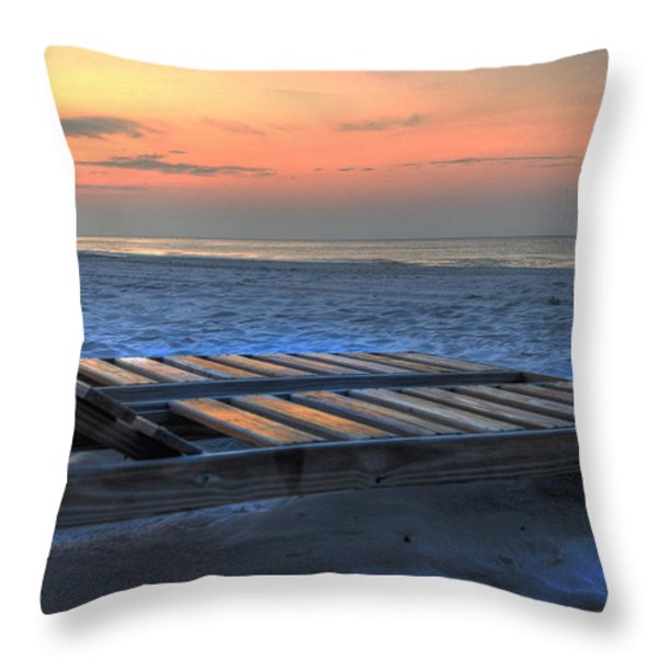 Lounge Closeup On Beach ... Throw Pillow by Michael Thomas