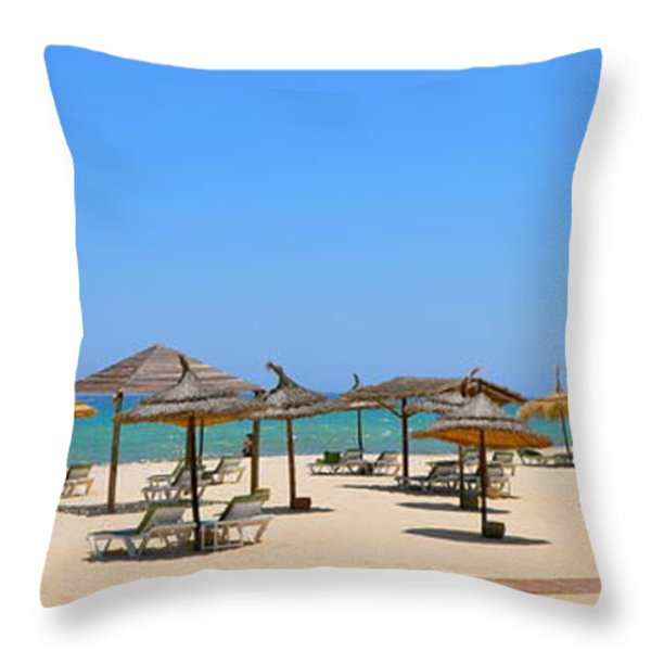 Lounging At The Beach Throw Pillow by Corinne Rhode