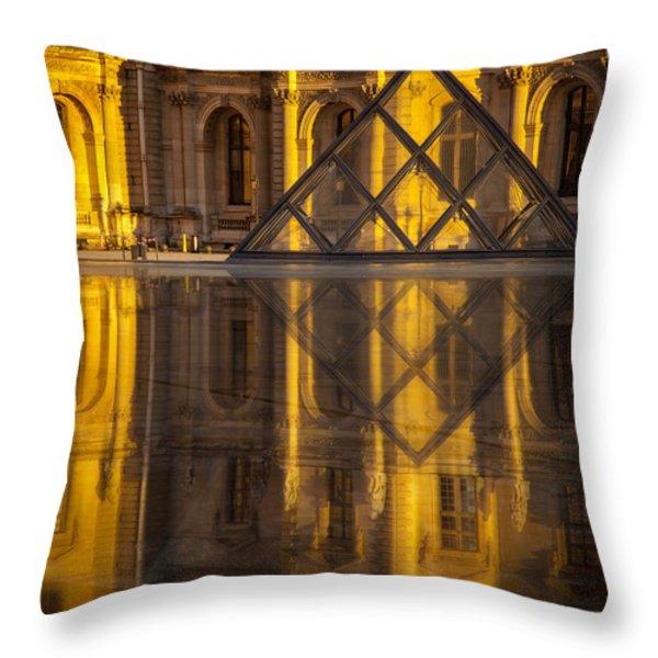 Louvre Sunset Throw Pillow by Brian Jannsen
