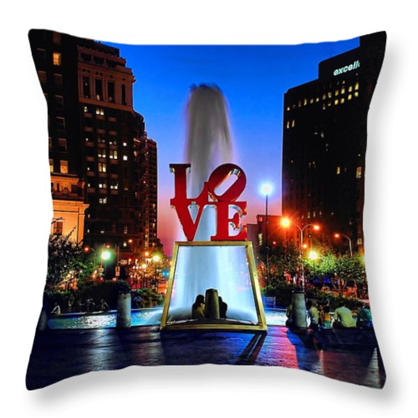 Love At Night Throw Pillow by Nick Zelinsky