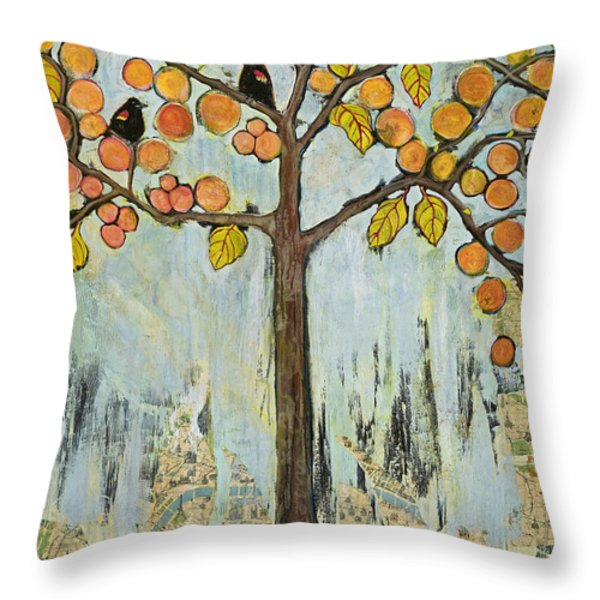 Love Birds In Paris Throw Pillow by Blenda Studio