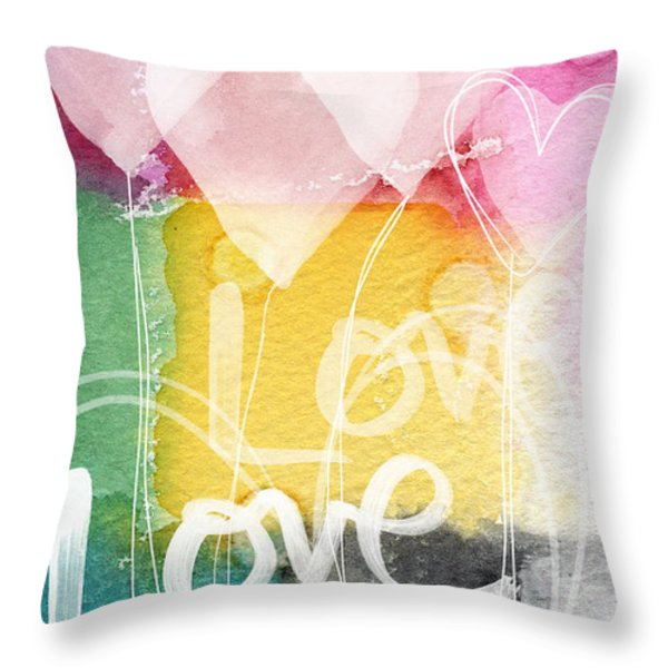 Love Hearts Throw Pillow by Linda Woods