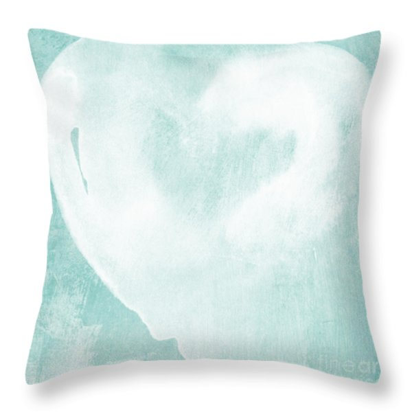 Love in Aqua Throw Pillow by Linda Woods