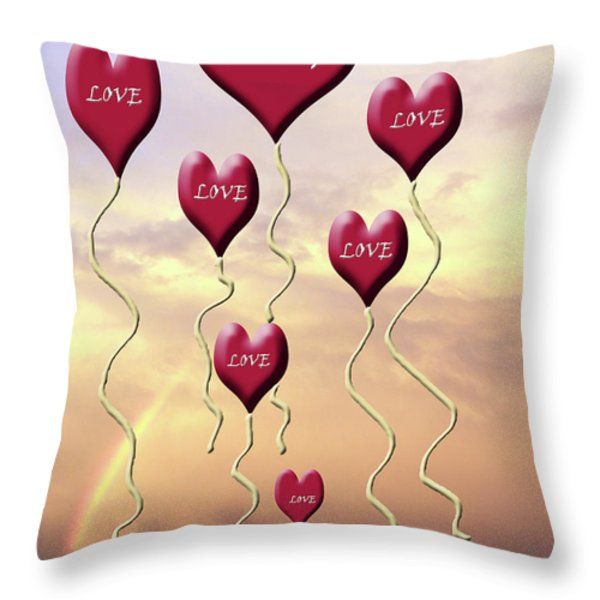 Love Is In The Air Sunshine Rainbow Throw Pillow by Cathy  Beharriell