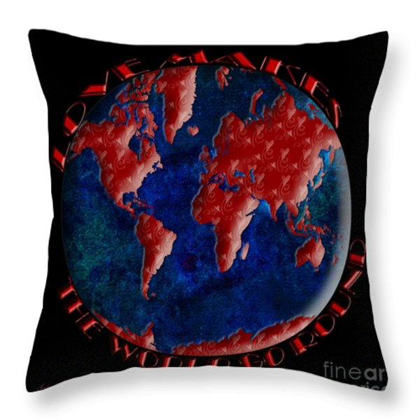 Love Makes The World Go Round 2 Throw Pillow by Andee Design